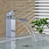Auralum Moderne Wasserfall Wasserhähne Wasserhahn Hebel Finish, Quadratische Auslauf Wasserhahn für Washtisch Badewanne Waschbecken Badezimmer