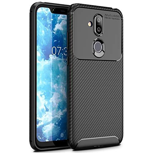 MYLBOO Hülle für Nokia 8.1, Slim Weiches Stoßsicheres Gehäuse mit Flexiblem TPU Silikon Hybrid Schutzhülle Kohlenstoff-Fasern Tasche Slim-Fit Case für Nokia 8.1 (Schwarz)