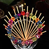 iBellete 100PCS Cocktail Bamboo Sticks,Bamboo Forks Acrylic Beaded Fruit For Cocktail Decorations Weddings Birthday Party Decorations