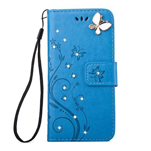 Crisant 3D Strass Schmetterling Blume Drucken Design schutzhülle für Apple iPhone 6 6S 4.7'' (4,7''),PU Leder Wallet Handytasche Flip Case Cover Etui Schutz Tasche mit Integrierten Card Kartensteckplä blau