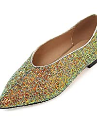 ZQ Zapatos de mujer-Tac¨®n Plano-Puntiagudos-Planos-Exterior / Oficina y Trabajo / Vestido / Casual-PU-Rosa / Blanco / Plata , white-us5 / eu35 / uk3 / cn34 , white-us5 / eu35 / uk3 / cn34