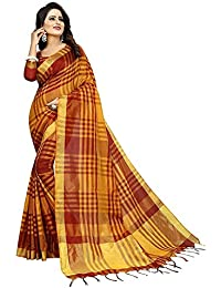 Kbf Women's Cotton Silk Saree With Blouse Piece (Mustard)
