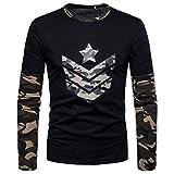 Herren Sweatshirts,MEIbax Mode Männer Herbst Camouflage Print langärmelige Sweatshirts Top Bluse, Herren Longsleeve Langarm-Shirt Rundhals-Ausschnitt(Grün,L)