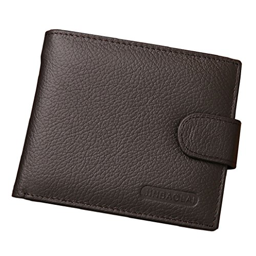 Heekpek Men\'s High Quality Soft Genuine Leather Bi Fold Wallet Credit Debit Card Holder ID Window Coin Pocket Zip (Brown)