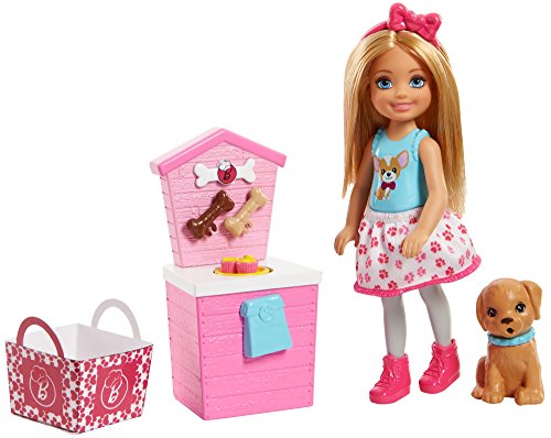 Barbie FHP67 Chelsea Puppe mit Hündchen-Stand (Hunde-kleidung Und Zubehör)