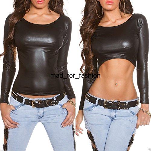 Koucla Damen Bluse CROP BLACK TOP