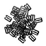 Sharplace Bikini Click Verschluß Dessous Einstellbar Nähen BH Ringe Schnallen Verschiedene Muster und Größen - Black, 13mmx10mm Hook