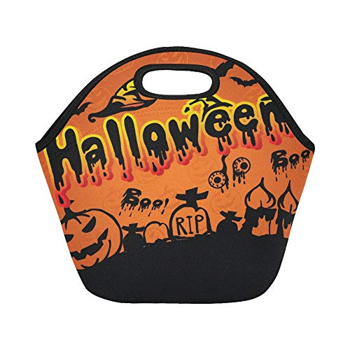 Isolierte Neopren-Lunch-Tasche Happy Halloween Scary Creepy Halloween Pack Große, wiederverwendbare, dicke Thermo-Lunch-Tragetaschen für Brotdosen Für Arbeiten im Freien, im Büro und in der Schule