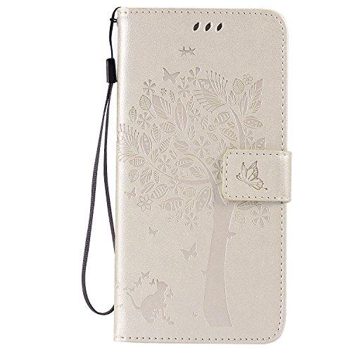 iPhone 6S Plus Hülle, iPhone 6 Plus Hülle, SpiritSun Ledertasche Schutzhülle für Apple iPhone 6 6S Plus (5.5 Zoll) Baum Muster Design Wallet Case Standfunktion und Kredit Kartenfächer - Lila Weiß