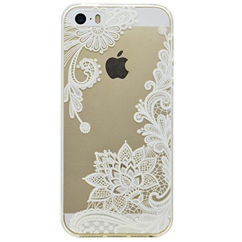 Qissy®Schutzhülle für iPhone SE /5 / 5S Hülle Case TPU Crystal Hülle Schlank Transparent Weicher Gel Silikon Handy Hülle Bunt Telefon Schmetterlings-Blumen-Design (iPhone 5/5S/SE, Style 5) Weiß Blume