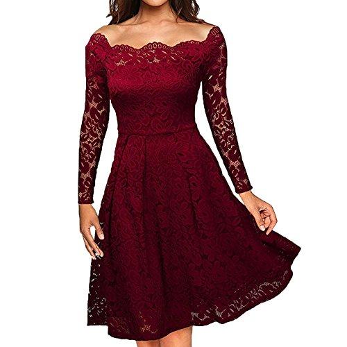QingJiu Frauen Vintage Aus Schulter Spitze Formale Abendkleid Damen Langarmkleider