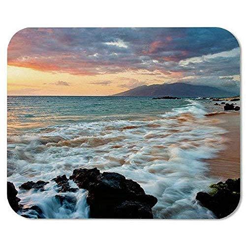 Computer Matte,Wailea Makena Beach Maui Hawaii Schöner Sonnenuntergang Meereswellen Wolken Mauspad Matte 18X22Cm
