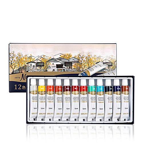 DPFXNN 12 Farben, Chinese Painted Colour Tube, Aquarellfarben-Set, Artist Tube Paint, 12 ml, traditionelles chinesisches Farbenset.