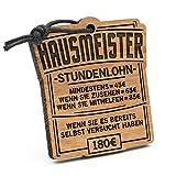 Fashionalarm Schlüsselanhänger Stundenlohn Hausmeister aus Holz mit Gravur | Lustige Geschenk Idee für Facility Manager Hauswart Beruf Job Arbeit