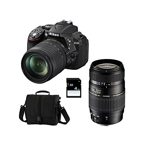 Nikon D5300+ 18–105VR + TAMRON 70–300Di + SD 4GB KIT D Kamera SLR 3000MP CMOS 6000x 4000pixels schwarz–Digitalkameras (24,2MP, 6000x 4000Pixel, CMOS, Full HD, 480g, schwarz) (Nikon D5300 Kamera-kit)