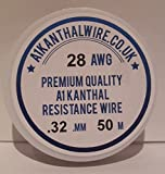 Kanthal Cable de alambre resistente tipo A1 (28AWG) de 0,32 mm, bobina de 50 metros, 17,97 ohmios/m