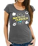 WOMEN T-Shirt - MANCHESTER TERRIER britische Hunderasse Pinscher Rattler Hund Hunde Ratte - COMIC Cartoon Fun Siviwonder dark grey XXL - 42