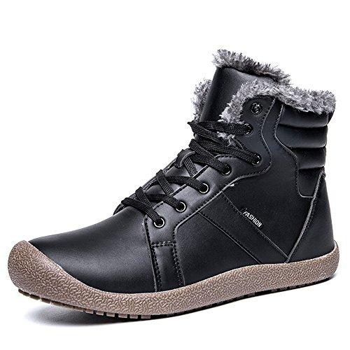 SITAILE Herren Winter Warm Gefütterte Boots Schneestiefel Schnürstiefel Waterproof Rutschfeste Stiefel Winterschuhe Outdoor,Schwarz,42 (Winter-wetter-stiefel)