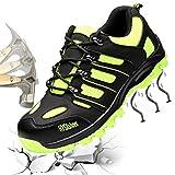 Gainow Sicherheitsschuhe Herren Damen Arbeitsschuhe Stahlkappe Schutzschuhe Leicht Atmungsaktiv Sportlich Traillaufschuhe Durchdringungskraft verhindern 1200N Hiking Trekking Schuhe (44 EU, Grün) …