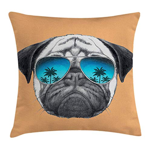 vbcnfgdntdy Pug Throw Pillow Cushion Cover, Dog with Reflecting Aviators Palm Trees Tropical Environment Cool Pet Animal, Decorative Square Accent Pillow Case, 18 X 18 Inches, Black Orange Blue