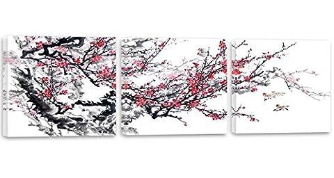 Feeby Frames, Tableau multi panneau - 3 parties - Panoramique, Tableau imprimé xxl, Tableau imprimé sur toile, Tableau deco, 150x50 cm, ARBRE, BRANCHE, FLEURS, OISEAUX, ROUGE,