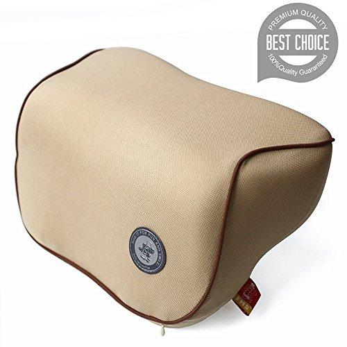 FMS Auto Nackenkissen Kopfkissen, Memory-Schaum Autokissen und zervikales Kissen mit entfernbarer Abdeckung für Autositz (Beige)