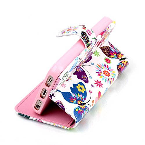 SainCat Cover iPhone 5 / 5s / SE,Fashion Design Dipinto Stand Intelligente Pelle PU Flip Stare Supporto Cover Case Caso,Elegante Pieghevole Capovolgere Leather Copertinat Caso Con Porta Carte Di Credi Farfall Colorata