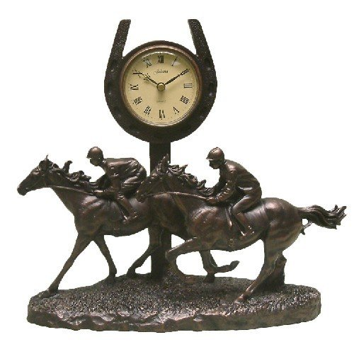 Juliana Bronze Race Pferd Galopp Vergangenheit das Finish Mantel Uhr Figur New