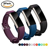 Fitbit Alta Band, Fitbit Strap HR Silicon, Digitek Strap Bands for Fitbit, Fashion Wristband Accessory Newest Watchbands with Adjustable Metal Buckle Clasp - Colorful Band for Sport Men Women and Girl, 3-Pack (Black+Dark Blue+Purple)