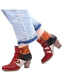 0b77ece36730b Gracosy Bottes Cuir Femme, Bottines Hiver Boots à Talons Moyens Hauts Chaussures  Ville Automne avec