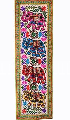 Purpledip Tapiz de algodón Morado con diseño de Elefante Jambooree: Camino de Mesa o Colgar en la Pared (11356)