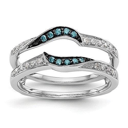 Ringschutz 14 Karat Weißgold 0,178 Karat Diamant Blau/Weiß -