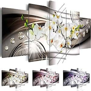 Quadro 100x50 cm ! Tre colori da scegliere - 5 Parti - Quadro su tela fliselina - Stampa in qualita fotografica - Fiore Orchidea Diamondo b-A-0238-b-n 100x50 cm B&D XXL