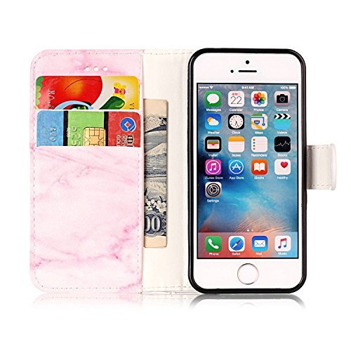 iPhone SE Case Cuir,Coque Etui pour iPhone SE,iPhone 5 5S Coque Portefeuille PU Cuir Etui,EMAXELERS iPhone 5 5S Leather Case Wallet Flip Protective Cover Protector,iPhone 5 5S Coque Dragonne Portefeui Q Marble 3