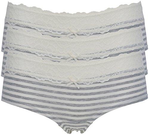 Ex-Store Damen Hipster 3 Pack Grey Stripe
