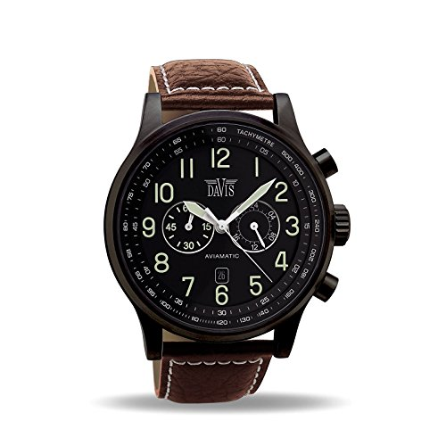 Davis 0452BR - Mens Aviator Watch Black Case Chronograph Waterresist 50M Black Dial Date Brown Leather Strap