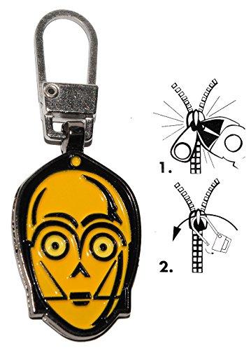 alles-meine.de GmbH Zipperanhänger -  Star Wars - C-3PO Roboter Droide  - Anhänger für Reißverschluss - Zipper - für Kinder / Mädchen & Jungen - Reißverschlußanhänger - Jacken ..