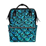 Alinlo Wickeltasche mit Meerjungfrau-Waage, große Kapazität, Multifunktions-Rucksack für Reisen