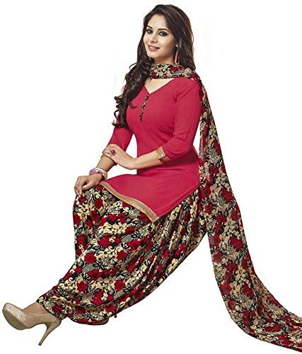 Jevi Prints Women's Dress Material (Rimzim-9022_Red_Free Size)