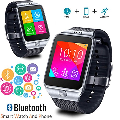 Indigi SWAP2 GSM Smartwatch Smartwatch (mit farbigem Touchscreen, Anrufer-ID, entsperrt, AT&T T-Mobile) silberfarben