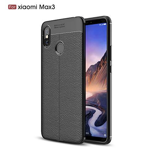 CruzerLite Xiaomi Mi Max 3 hülle, Flexible Slim Case with Leather Texture Grip Pattern and Shock Absorption TPU Cover Schutzhülle für Xiaomi Mi Max 3 (Black)