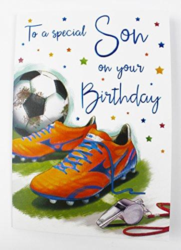Happy Birthday für Sohn Karte Wishes Fußball Große ihn Qualität Vers Boy Teen (Teen Party-einladungen)