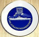 Kahla PMK Porzellan mit Goldrand Sammelteller - DDR-Traumschiff MS Völkerfreundschaft - DSR Lines