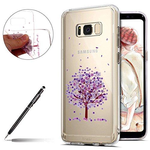 Uposao Kompatibel mit Hülle Galaxy S8 Plus Handyhüllen Transparent Weiche Silikon Durchsichtig TPU Kratzfest Schutzhülle Crystal Clear Ultra Dünn Silikonhülle Handytasche,Lila Baum