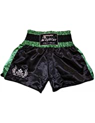4Fighter Shorts Muay Thai Classic negro-verde con la 4Fighter logo en la pierna, Talla:XL