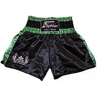 4Fighter Muay Thai Short Classic in nero-verde con 4fighter logo sulla gamba, Taille:L - Muay Thai Kickbox Shorts