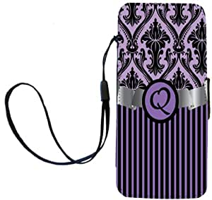 "Rikki Knight Letter ""Q"" Initial Purple Damask and Stripes Monogrammed Flip Wallet iPhoneCase with Magnetic Flap for iPhone 5/5s - Purple"