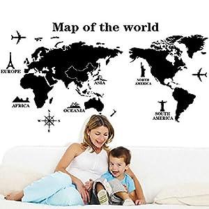 Zooarts – Mapa del mundo, torre Eiffel, adhesivo extraíble para pared, mural; decoración artística para habitación