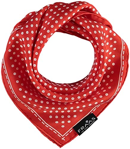 FRAAS Bandana Tuch gepunktet - elegantes Nickituch für Damen - schickes Seidentuch mit Polka Dots - Haarband gepunktet - Dreieckstuch Koralle (Polka Dots Seiden-schals)