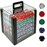 Trademark 1000 13 Gram Pro Clay Casino Poker Chips In Acrylic Carrier (Clear)